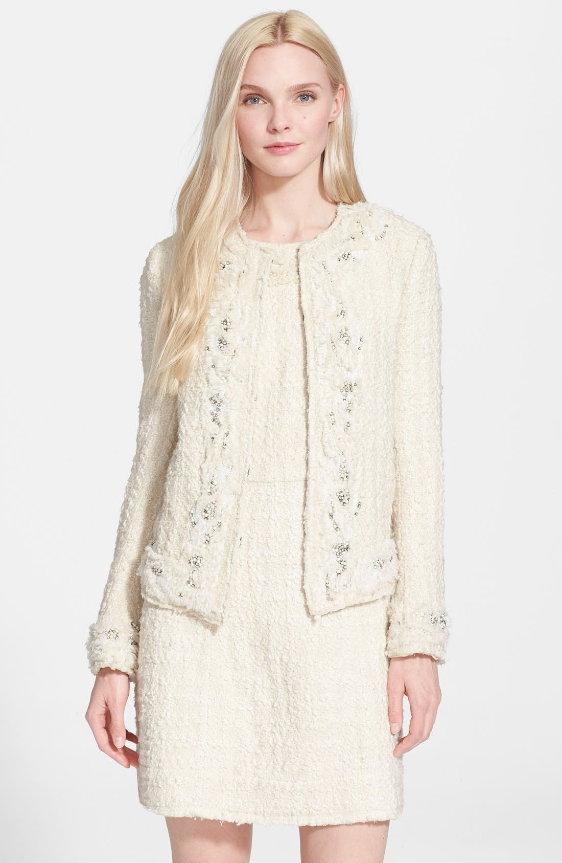 Alternate Image 1 Selected - Alice + Olivia 'Nila' Embellished Tweed Jacket