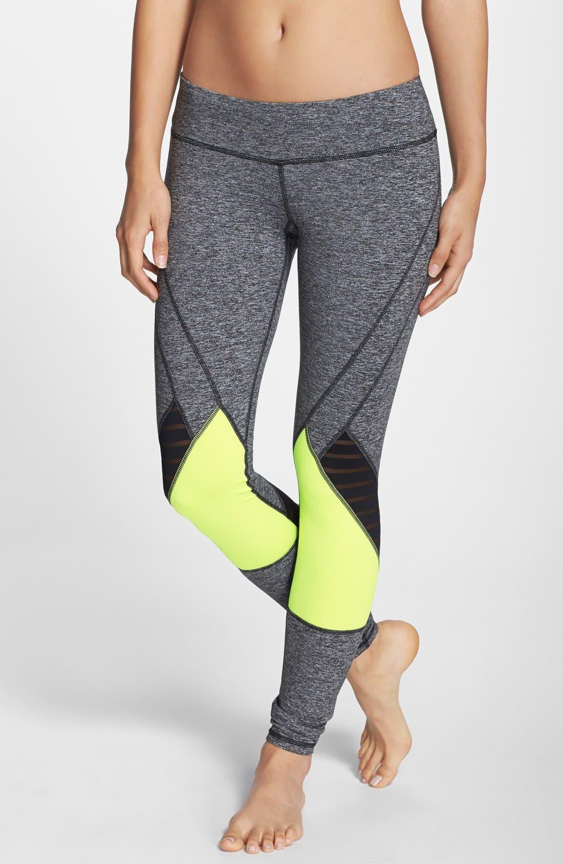 Alternate Image 1 Selected - Pink Lotus Colorblock Leggings