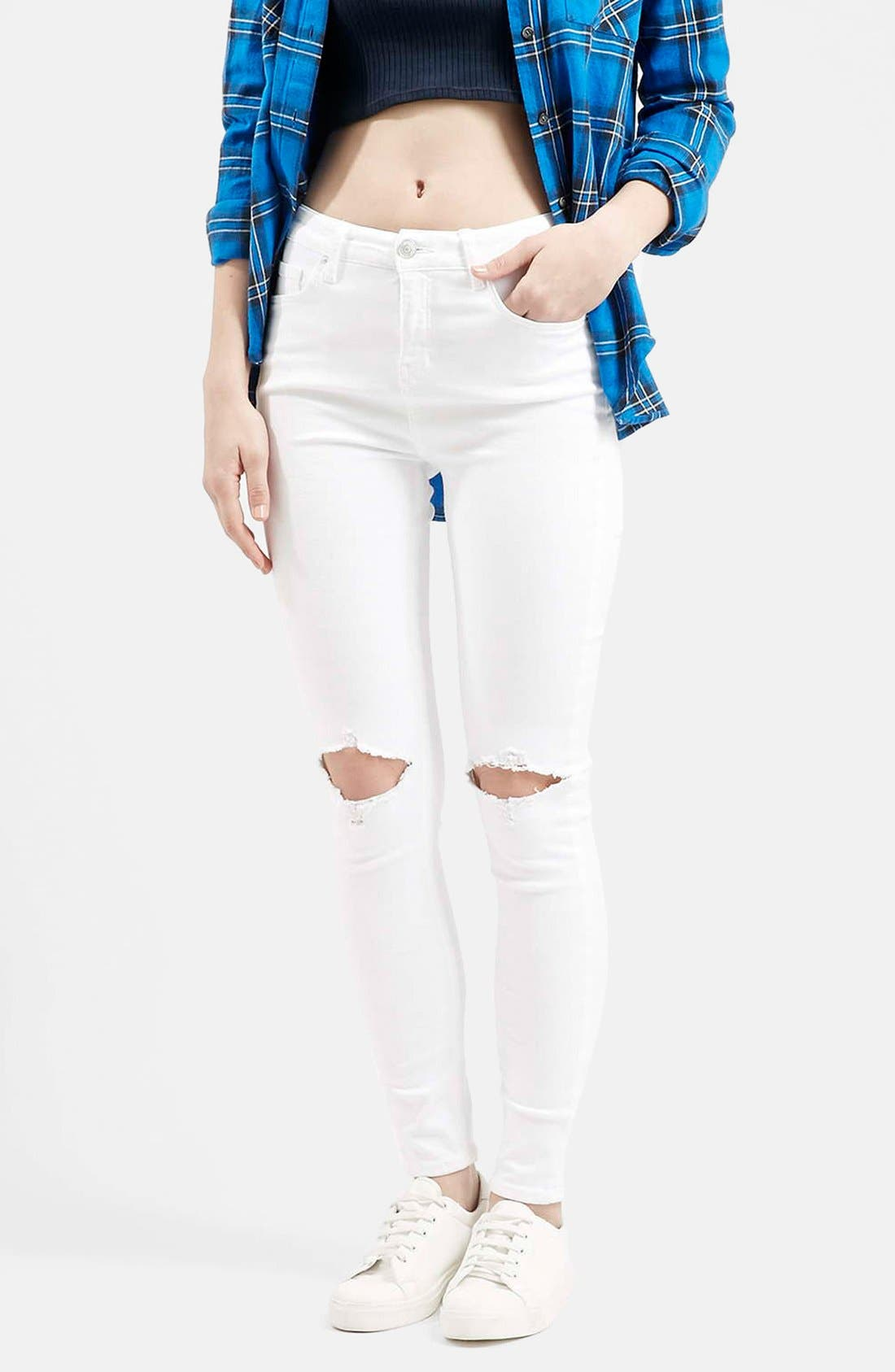 Main Image - Topshop Moto 'Jamie' Busted Skinny Jeans (White)