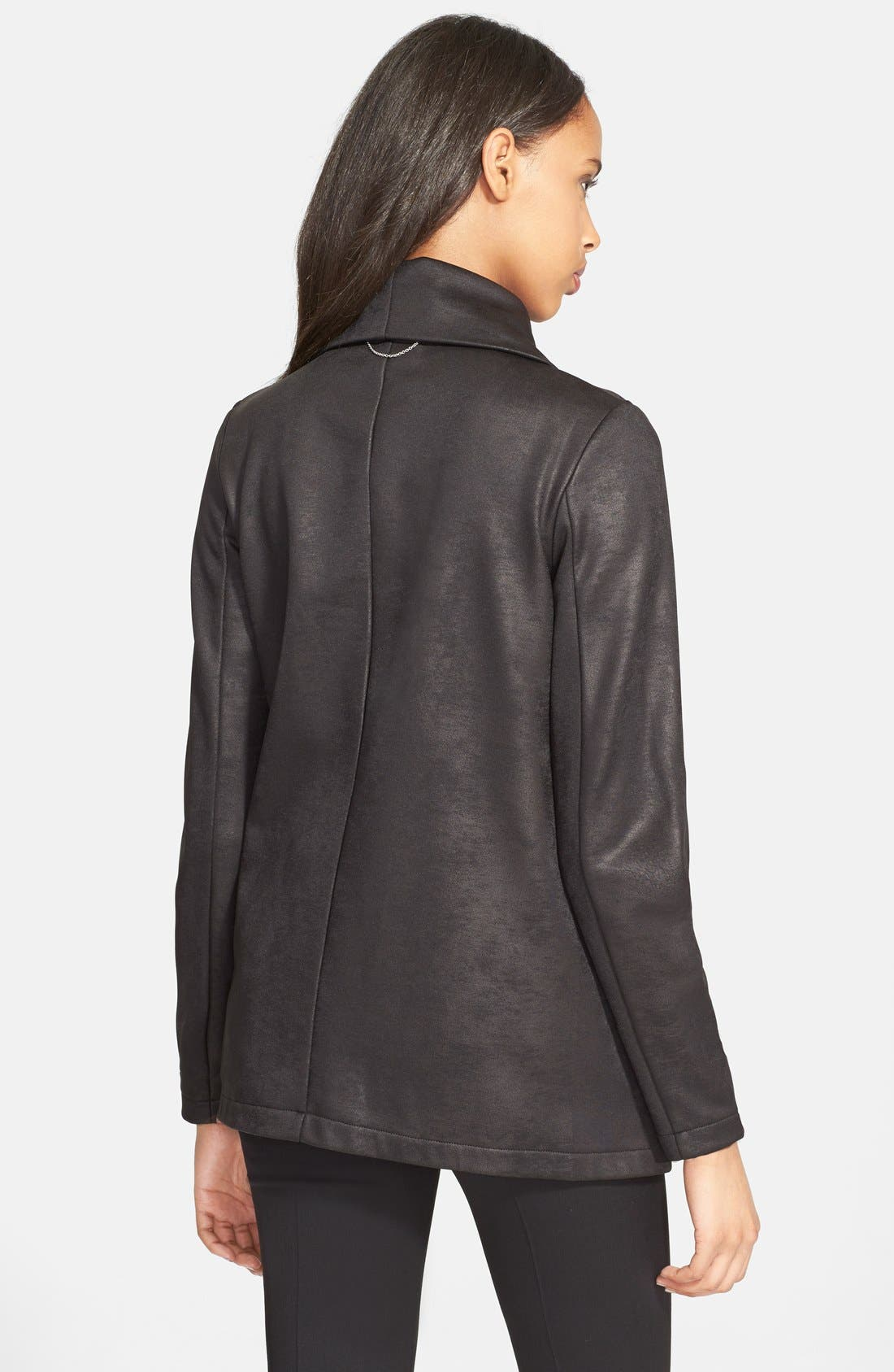 Alternate Image 2  - The Kooples Drape Neck Coated Knit Jacket