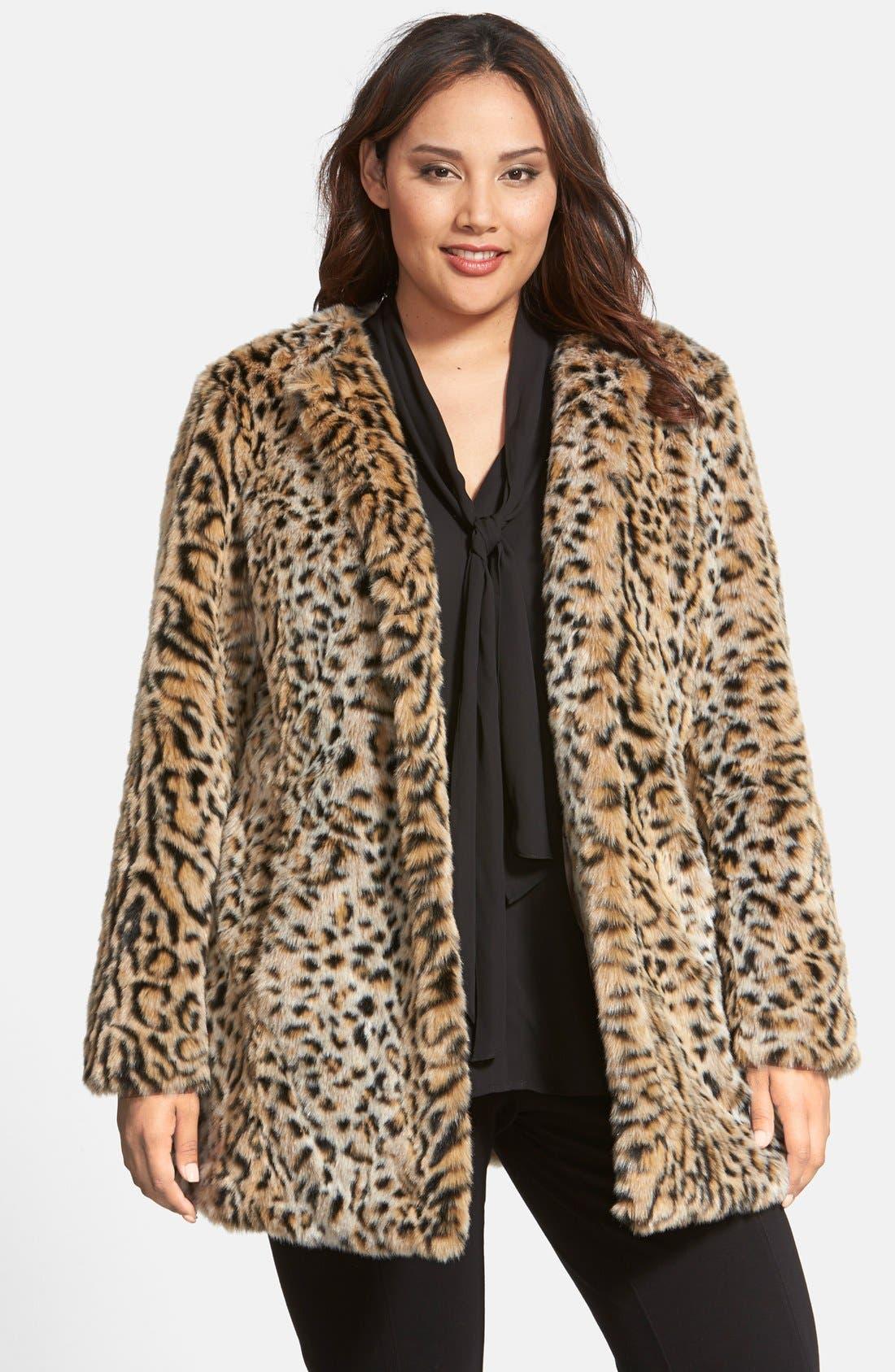 Main Image - Steve Madden Faux Fur Leopard Print Coat (Plus Size)