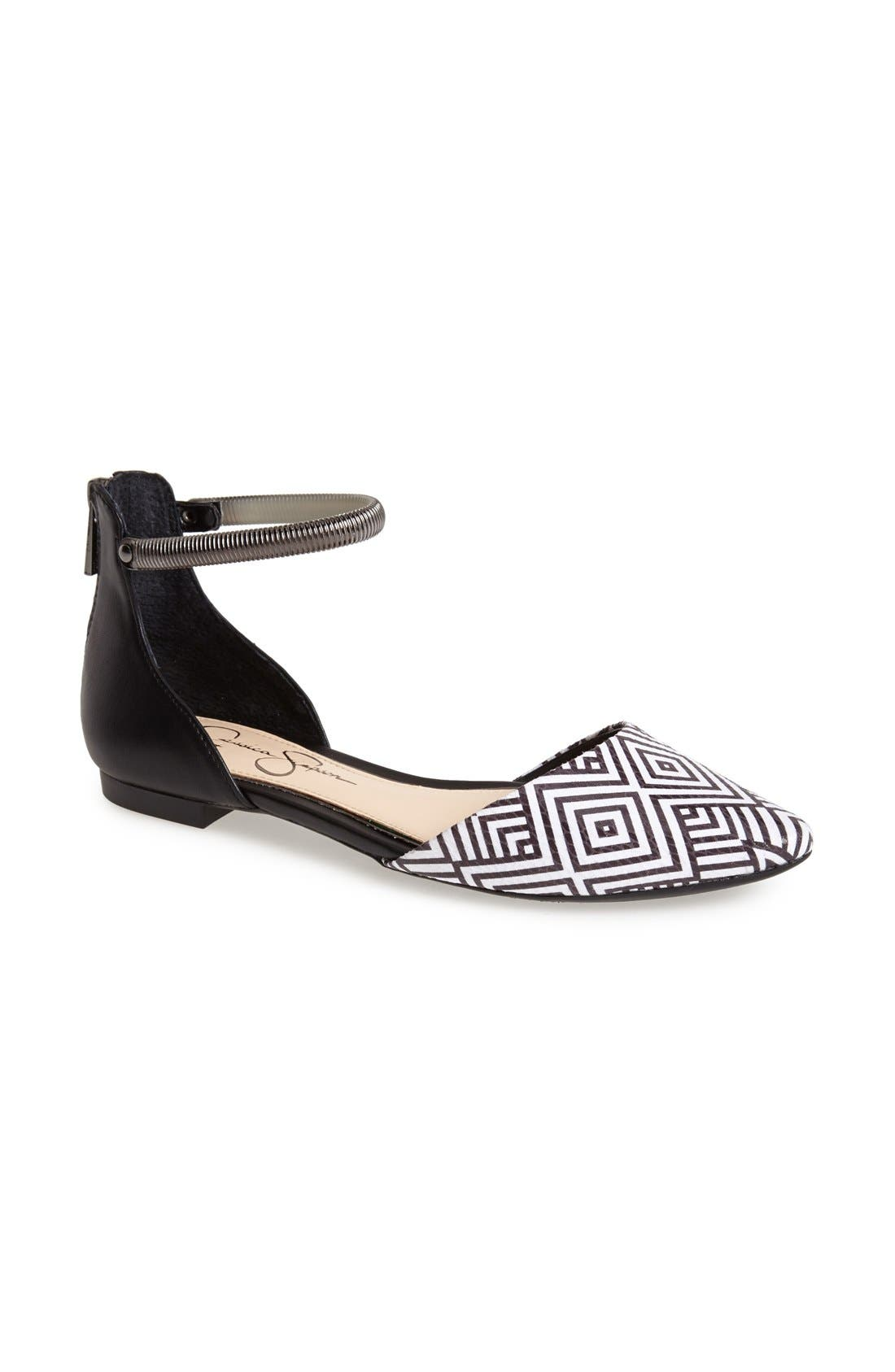 Alternate Image 1 Selected - Jessica Simpson 'Zazaa' Ankle Strap Flat (Women)