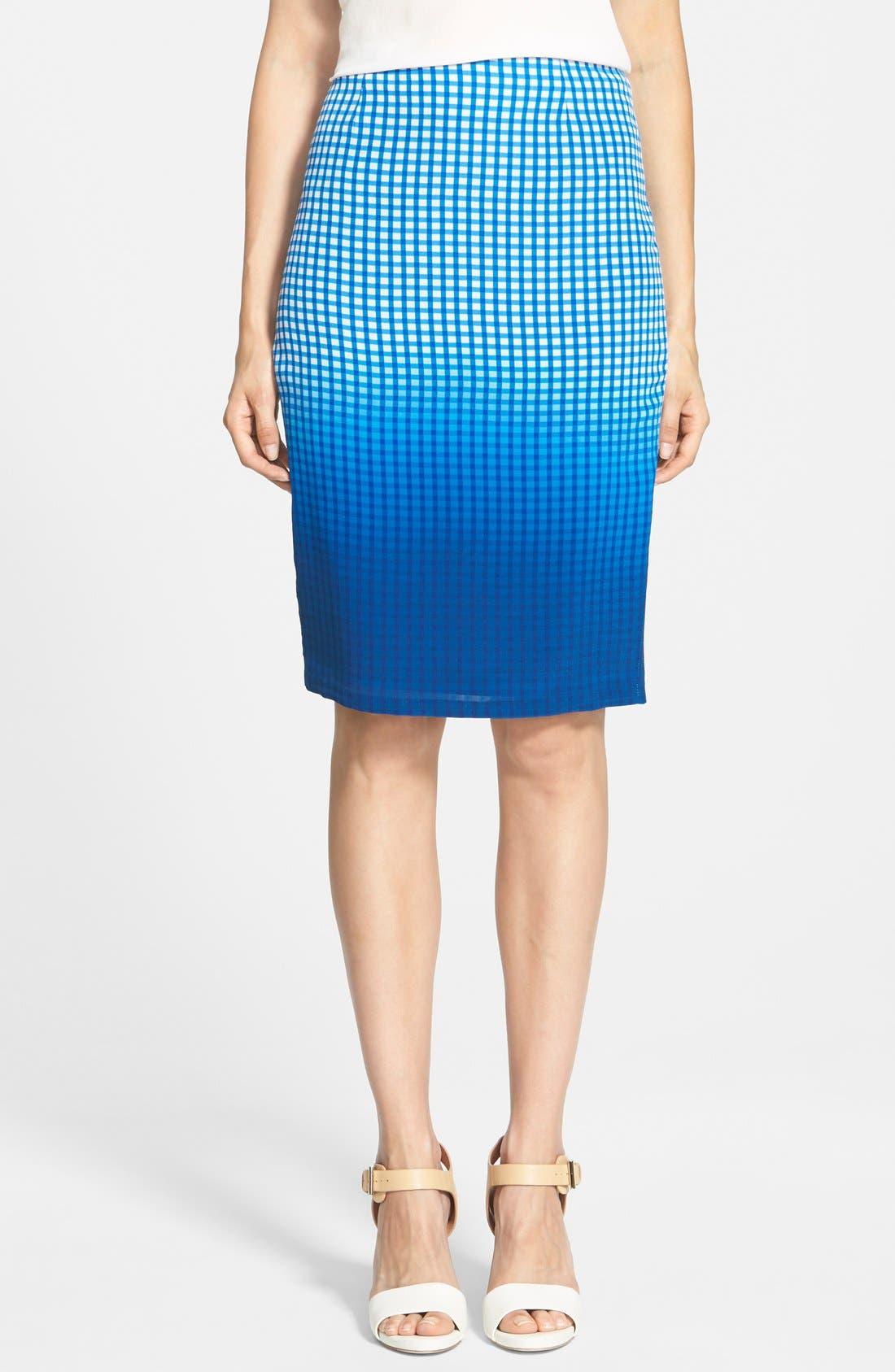 Main Image - Bailey 44 'Astley' Dip Dye Check Silk Pencil Skirt
