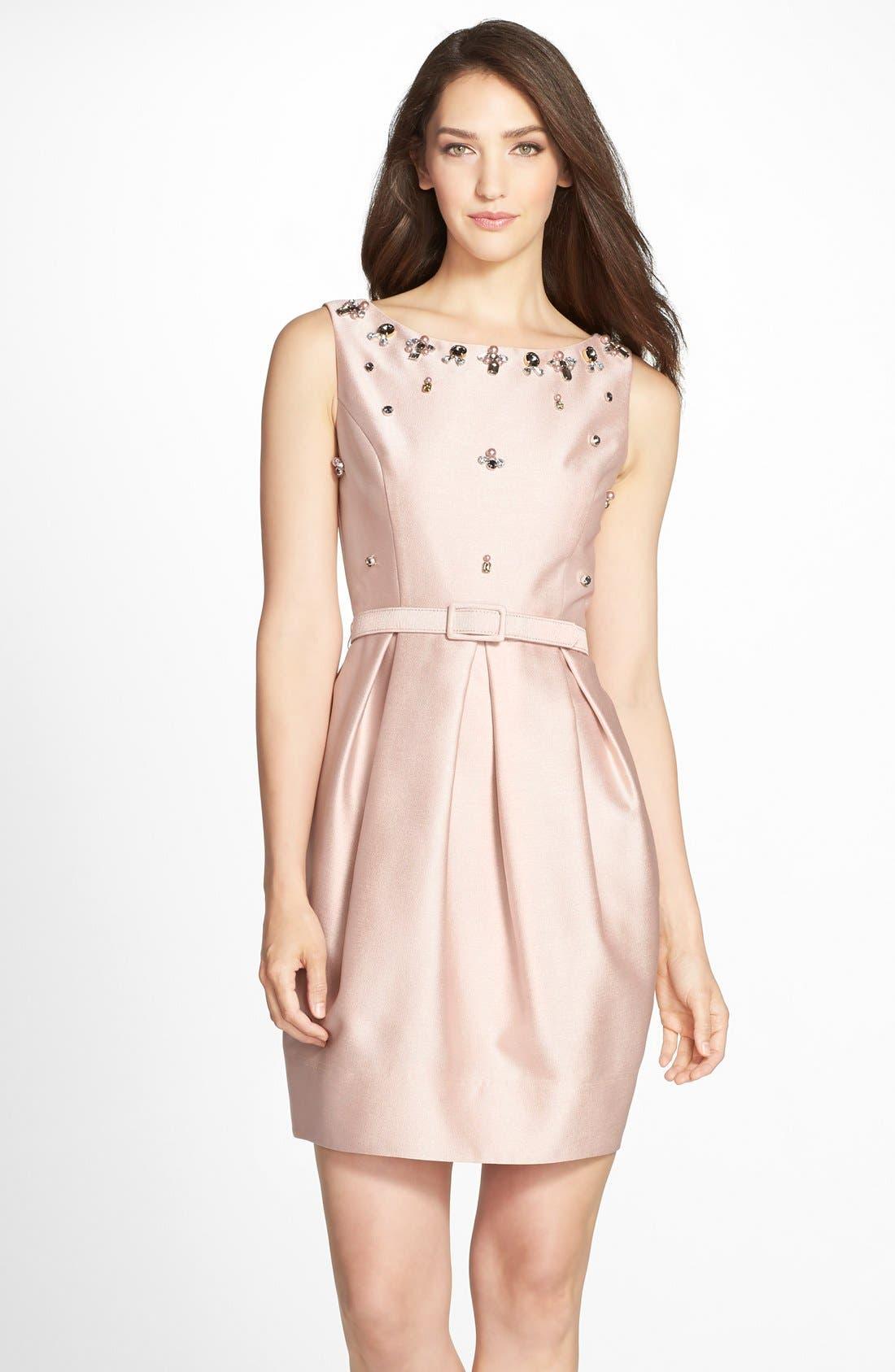 Alternate Image 1 Selected - Eliza J Embellished Jacquard Tulip Dress (Regular & Petite)