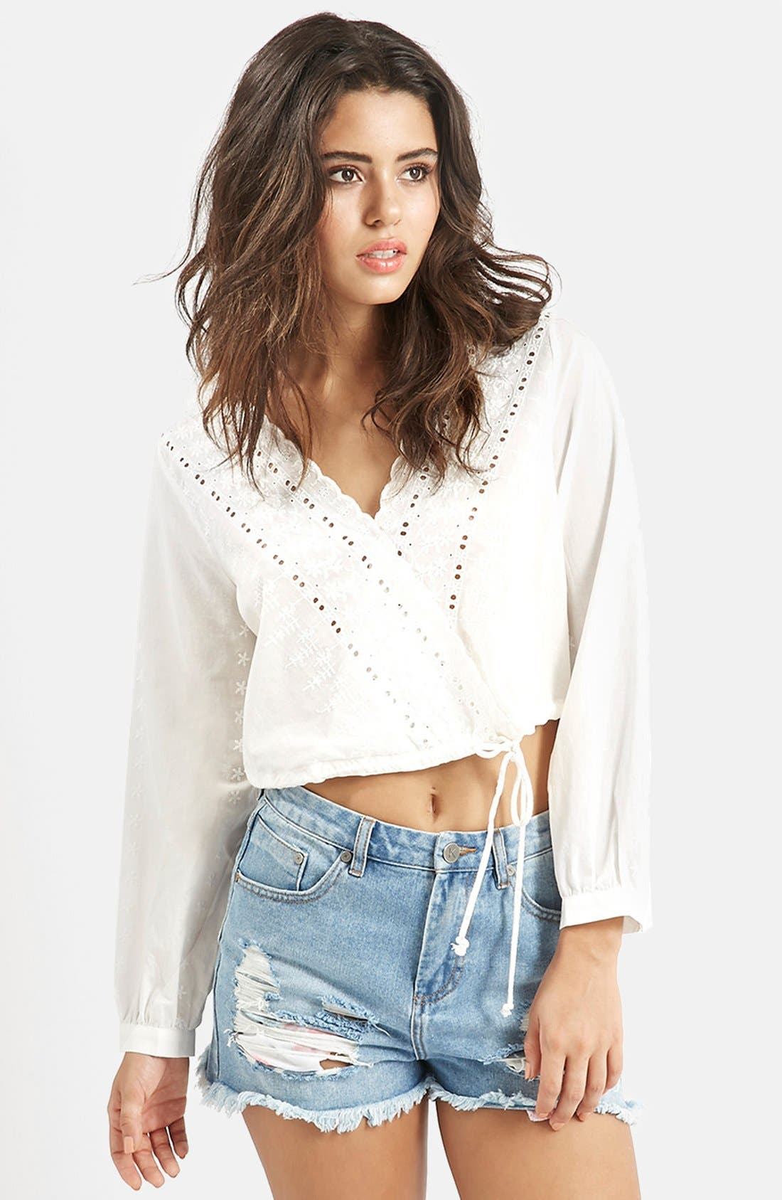 Main Image - KENDALL + KYLIE at Topshop Embroidered Surplice Top