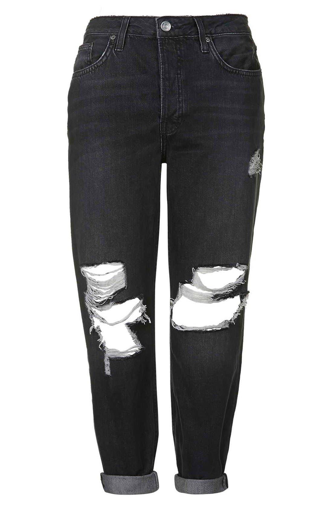 Alternate Image 3  - Topshop Moto 'Hayden' Ripped Boyfriend Jeans (Black)