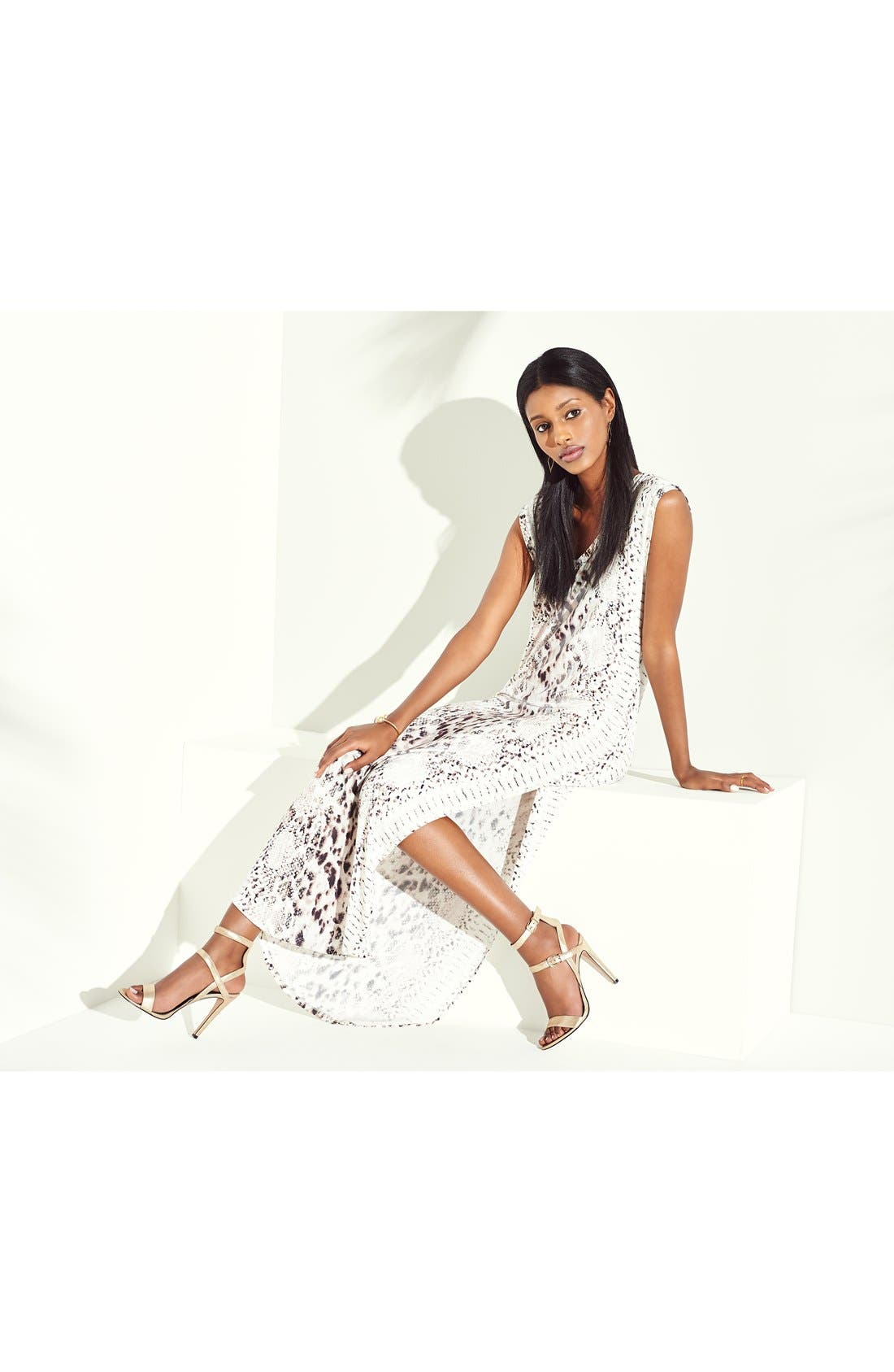 Alternate Image 4  - Haute Hippie Snake Print Long V-Neck Muscle Dress