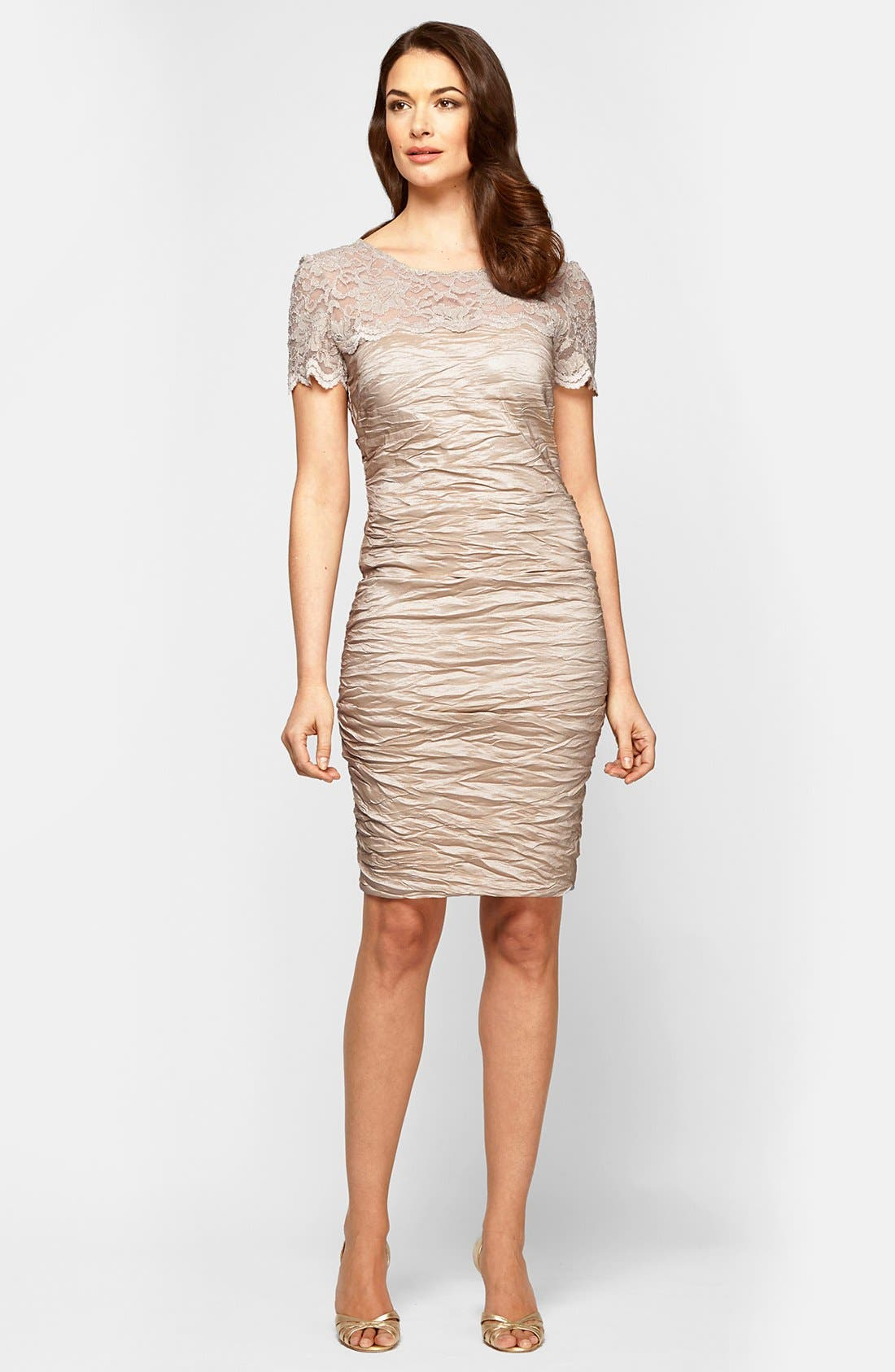 Main Image - Alex Evenings Lace Illusion Yoke Sheath Dress