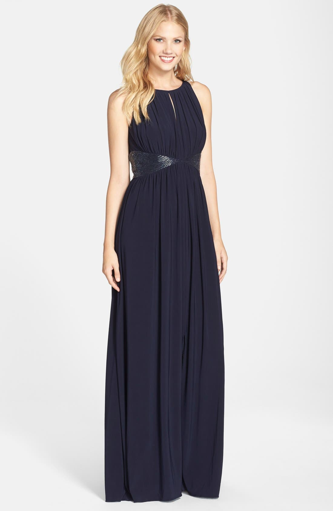Alternate Image 1 Selected - JS Boutique Beaded Waist Jersey Gown