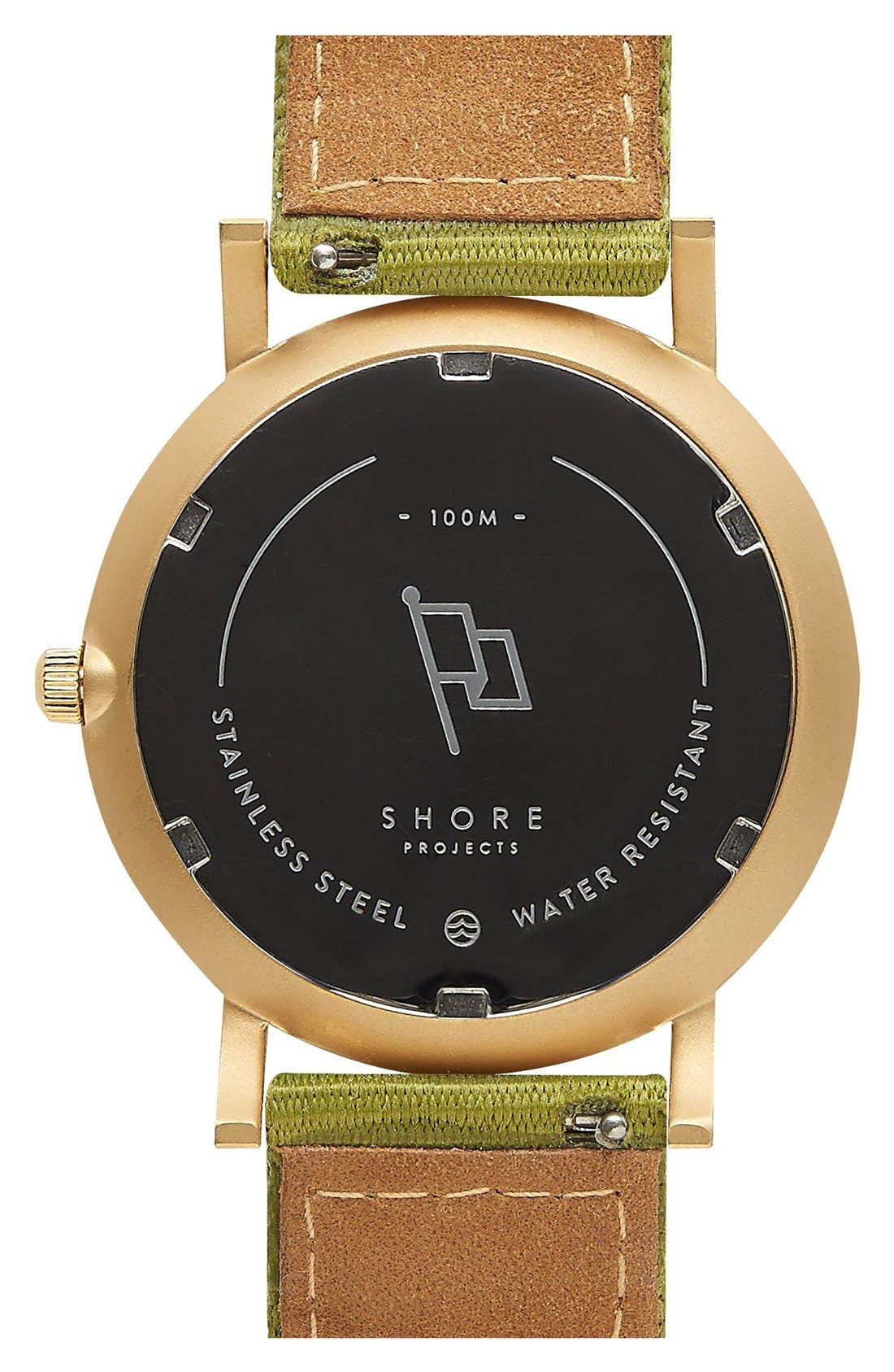 Alternate Image 3  - Shore Projects 'Project 1' Leather & Nylon Strap Watch, 39mm