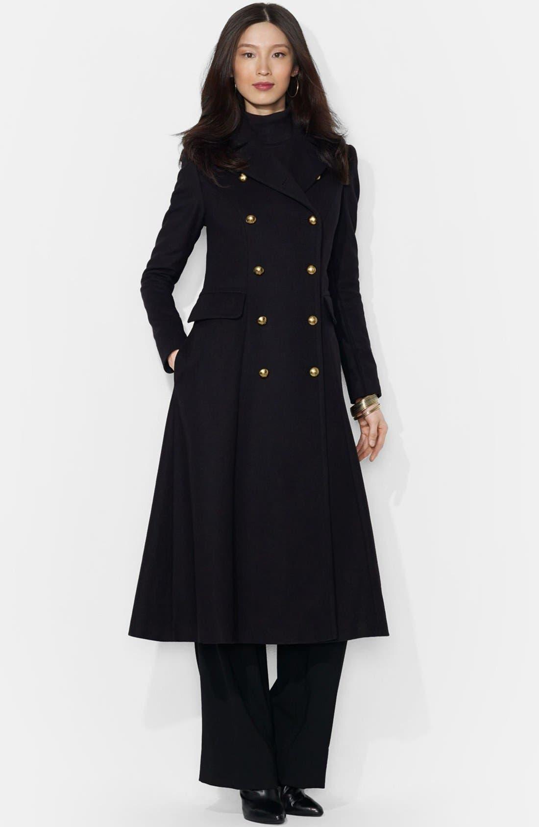 Lauren Ralph Lauren Wool Blend Military Maxi Coat