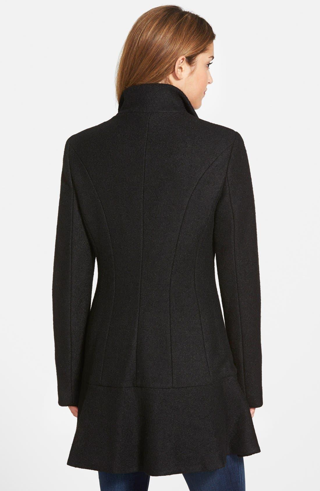 Alternate Image 2  - kensie Single Breasted Ruffle Hem Coat