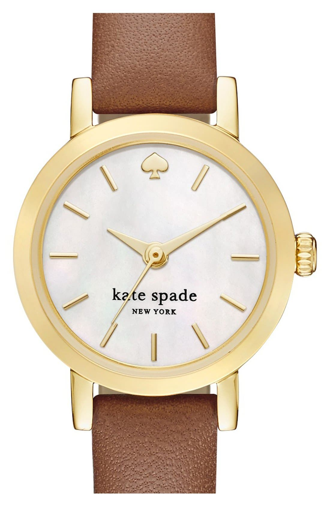 Alternate Image 1 Selected - kate spade new york 'metro' leather strap watch, 20mm