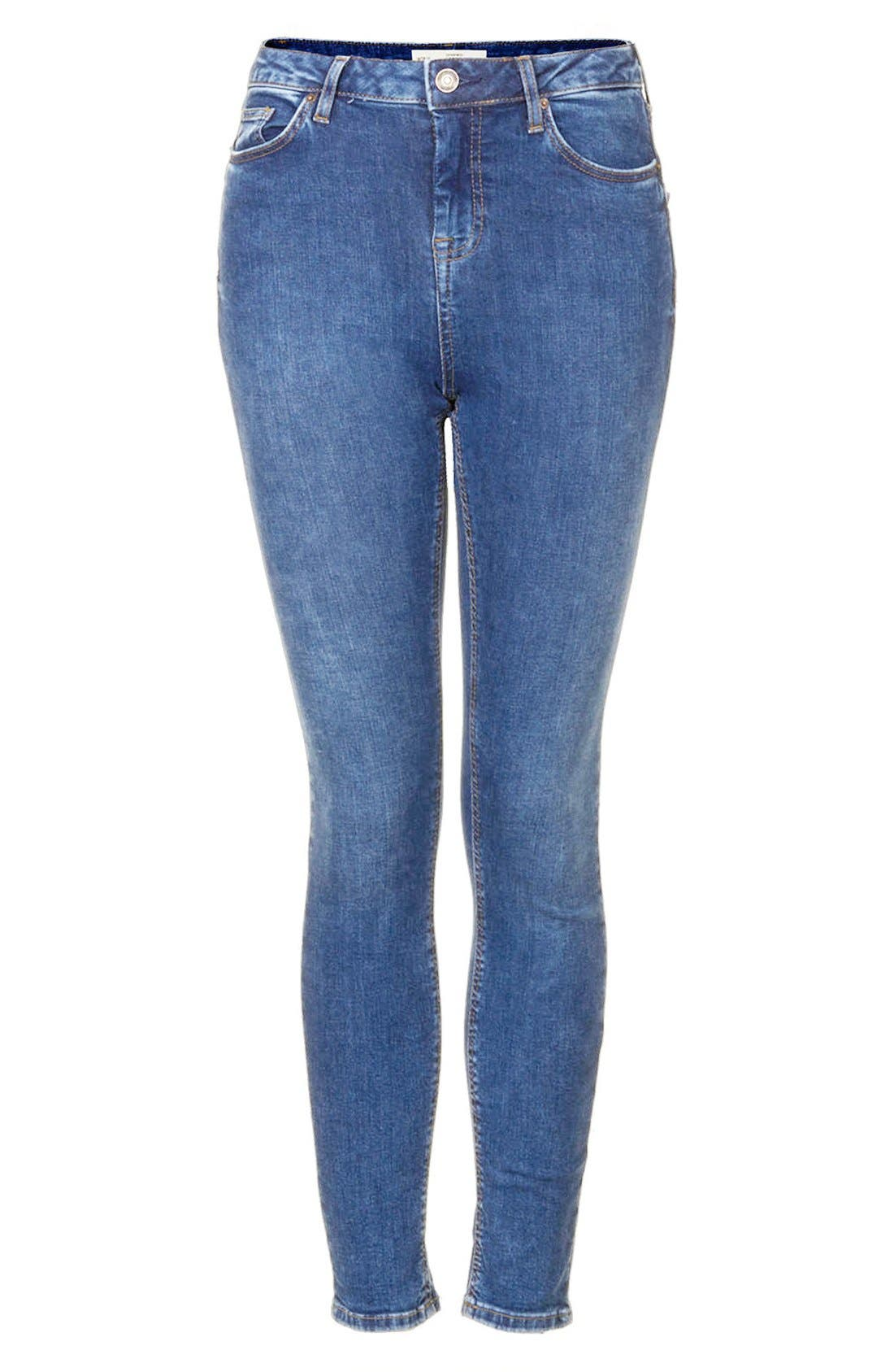Alternate Image 3  - Topshop Moto 'Jamie' Skinny Jeans (Blue) (Regular & Short)