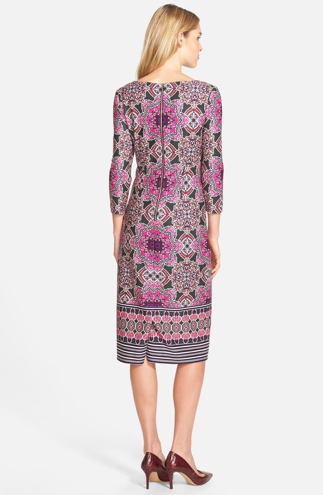 Alternate Image 2  - Eliza J Print Ponte Midi Sheath Dress