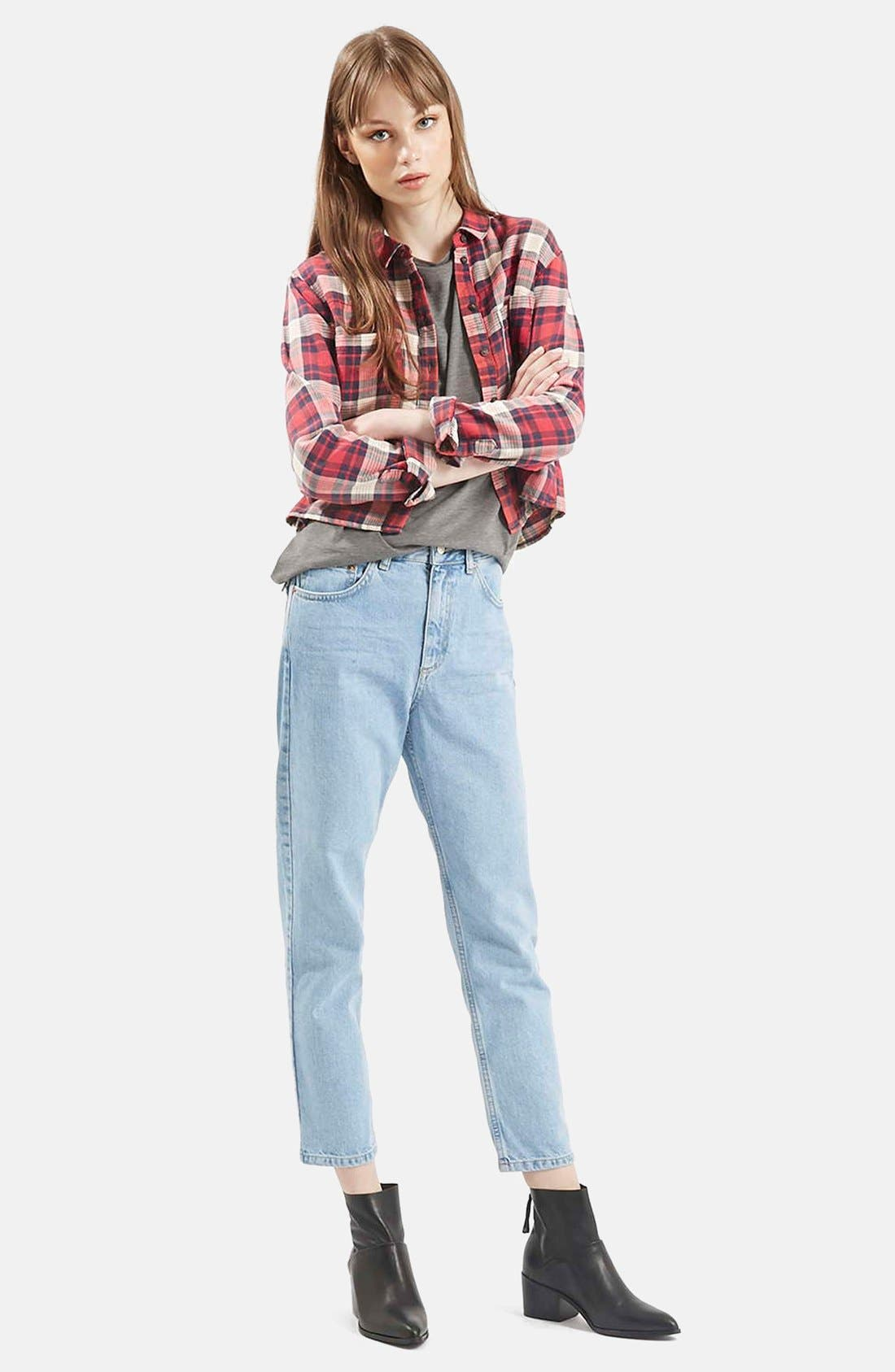 Alternate Image 6  - Topshop 'Chloe' Crop Plaid Shirt