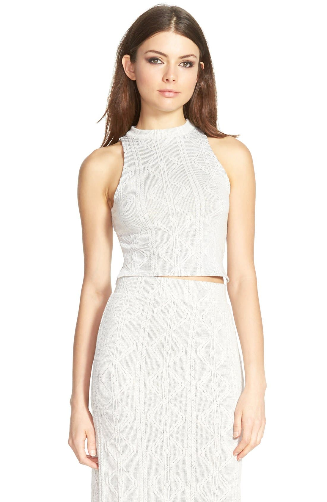 Alternate Image 1 Selected - Leith Knit Sleeveless Mock Neck Crop Top