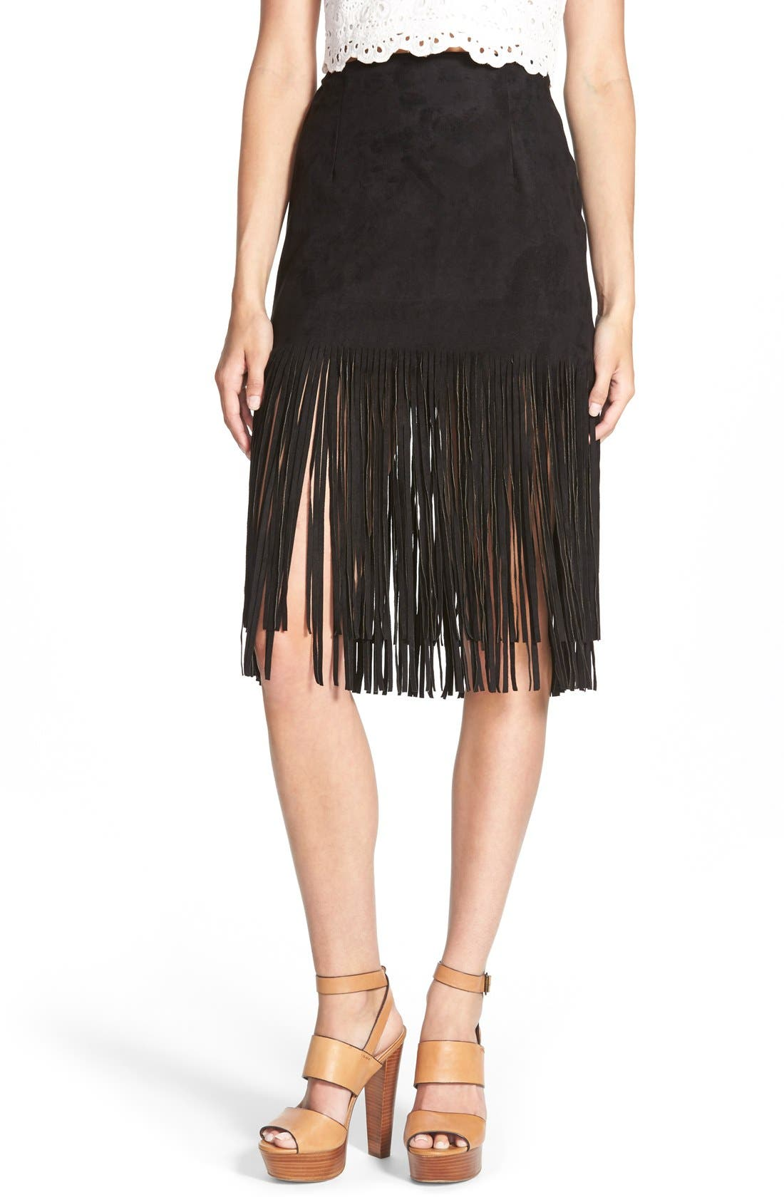 j o a faux leather fringe skirt nordstrom