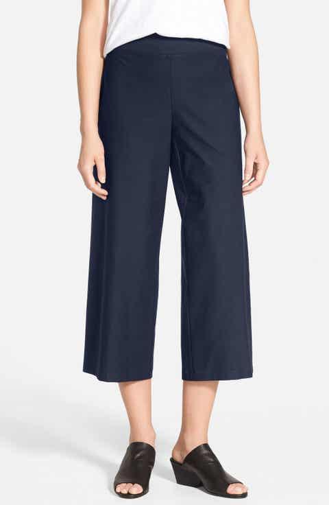 Eileen Fisher Wide Leg Crop Pants (Regular   Petite) (Online Only)