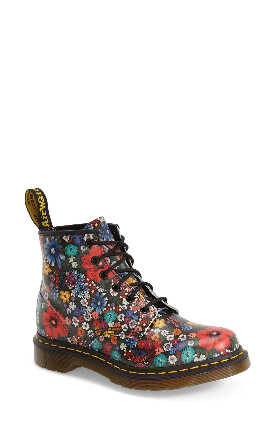 Main Image - Dr. Martens '101' Floral Print Leather Boot (Women)