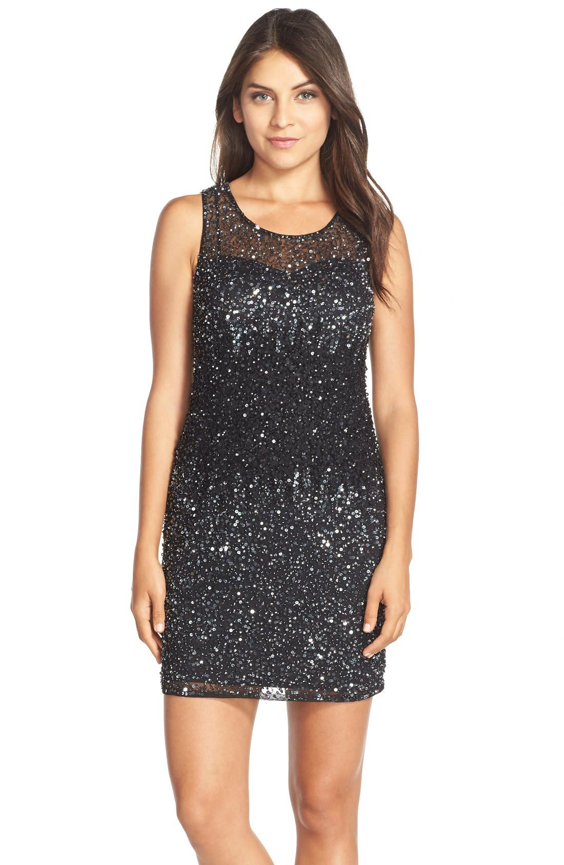 Alternate Image 1 Selected - Adrianna Papell Embellished Mesh Dress
