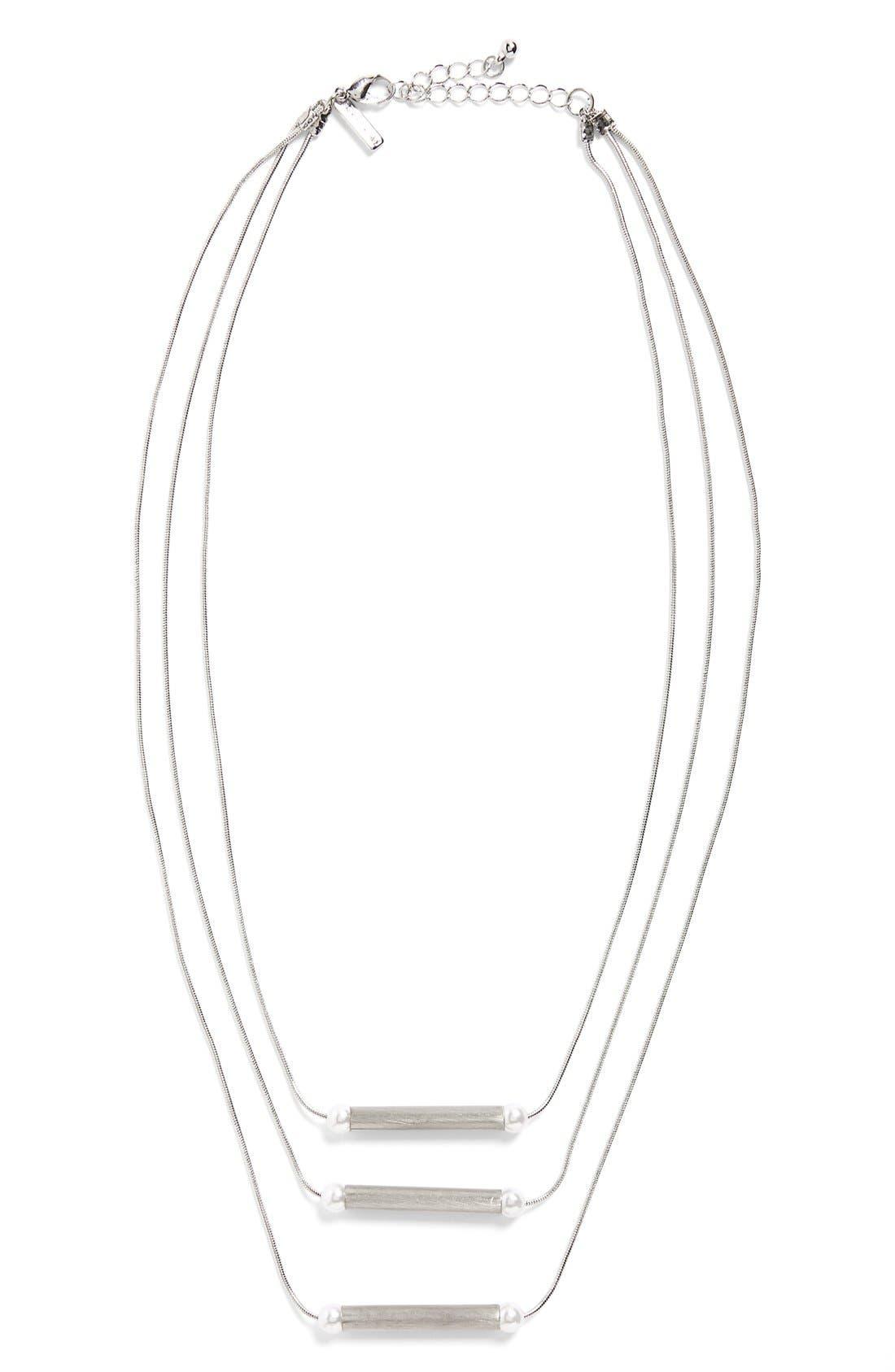 Alternate Image 2  - Topshop Imitation Pearl Multi Row Necklace