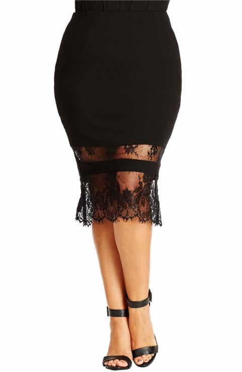 City Chic Lace Hem Tube Skirt (Plus Size)