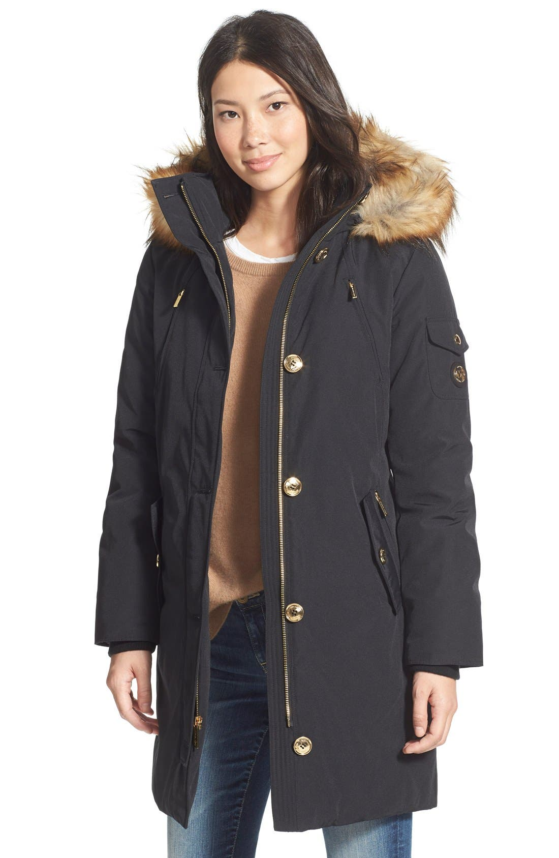 Main Image - MICHAEL Michael Kors 'Expedition' Faux Fur Trim Down & Feather Fill Parka