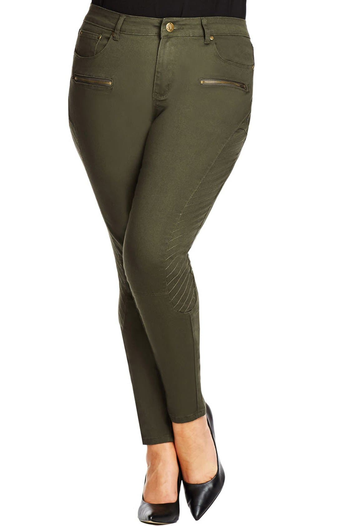 Main Image - City Chic 'Commando' Khaki Pants (Plus Size)