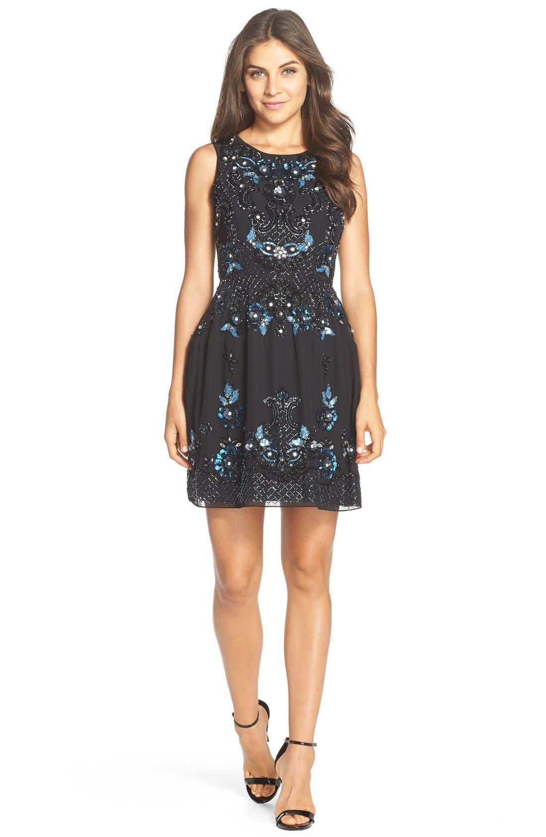 Alternate Image 3  - Needle & Thread 'Midnight Crystal' Embellished Georgette Fit & Flare Dress