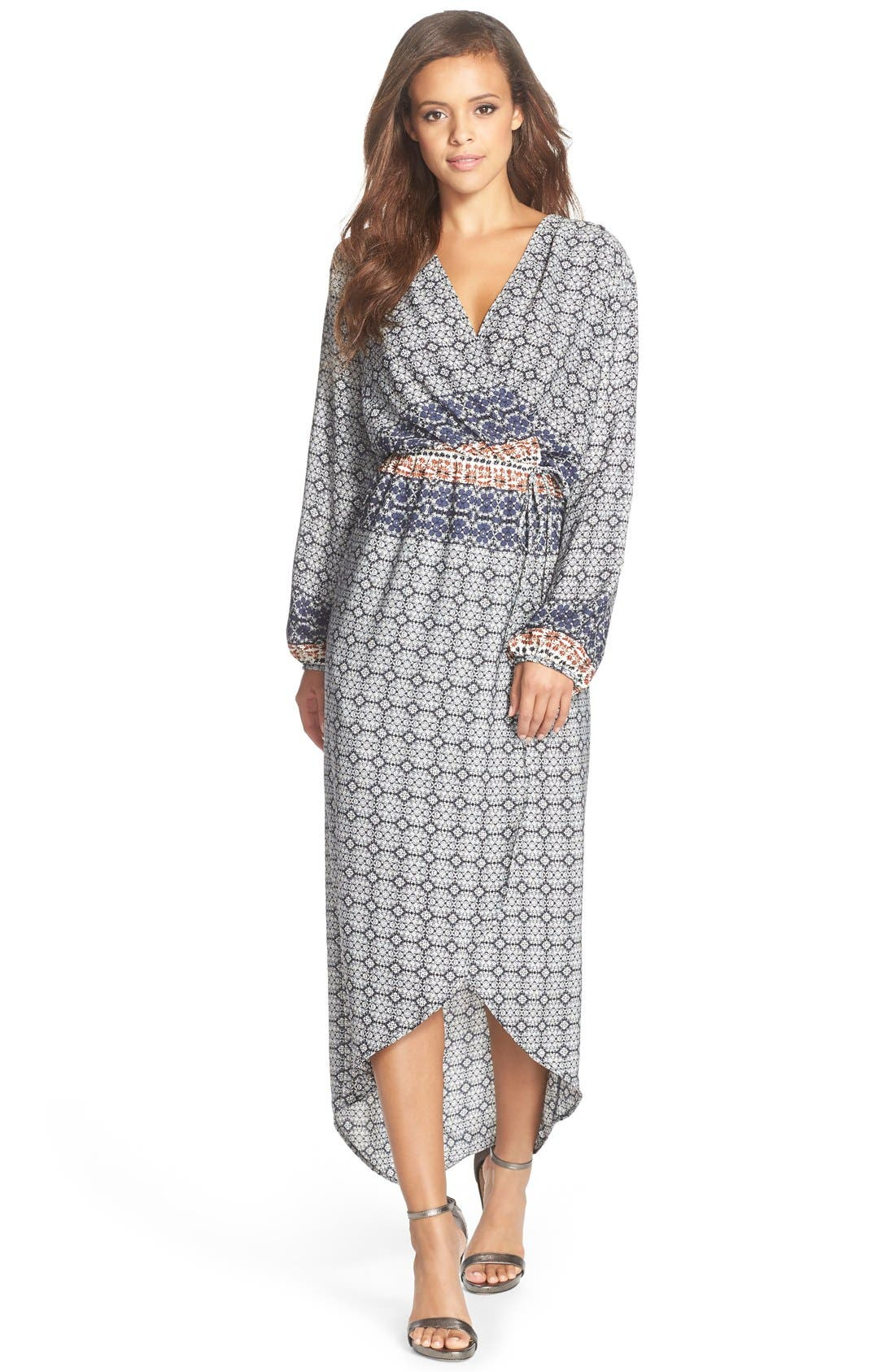 Fraiche by J Print Wrap Maxi Dress