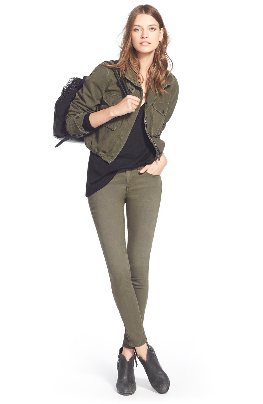 Alternate Image 4  - rag & bone/JEAN 'The Skinny' Jeans (Distressed Fatigue) (Nordstrom Exclusive)