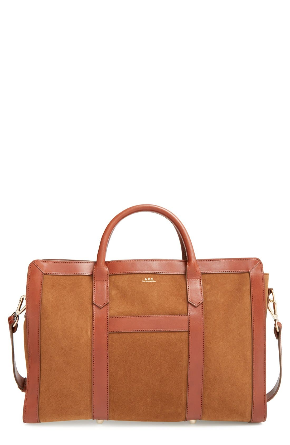 Main Image - A.P.C. 'Lydia' Leather & Suede Satchel