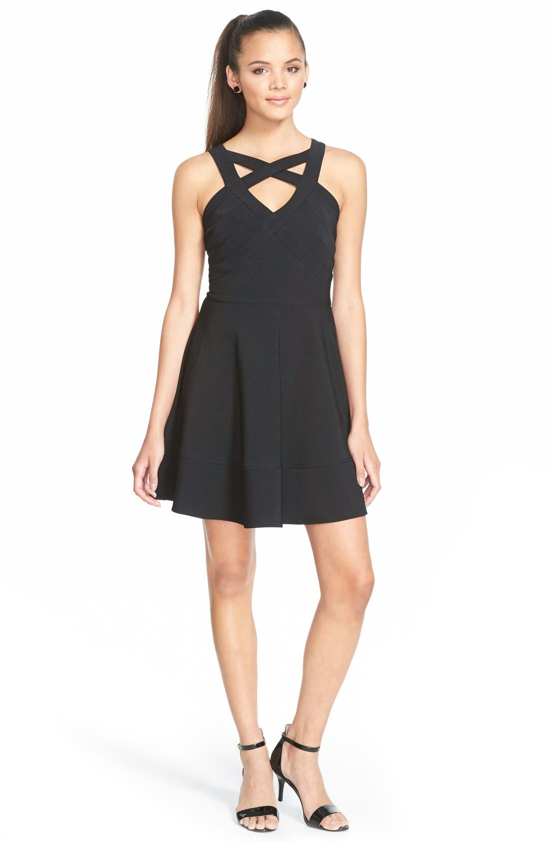 Main Image - Love, Nickie Lew Cage Front Fit and Flare Dress