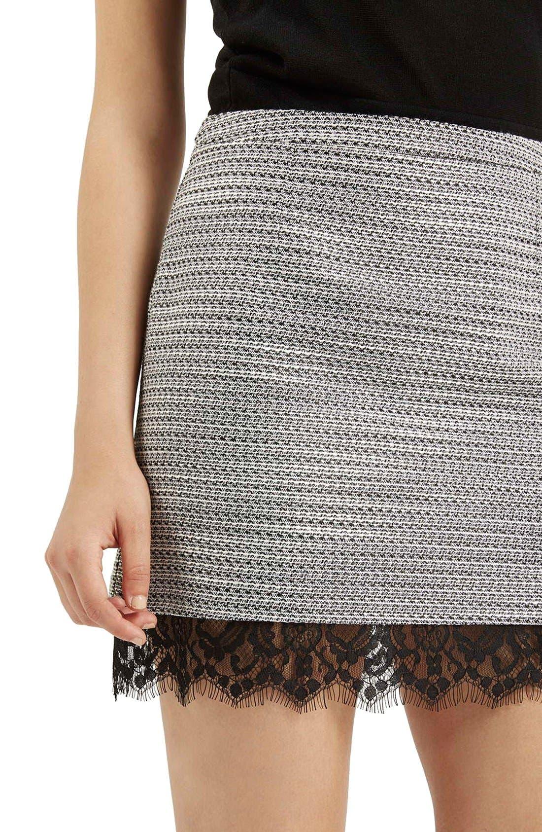 Alternate Image 5  - Topshop Lace Hem Bouclé A-Line Skirt