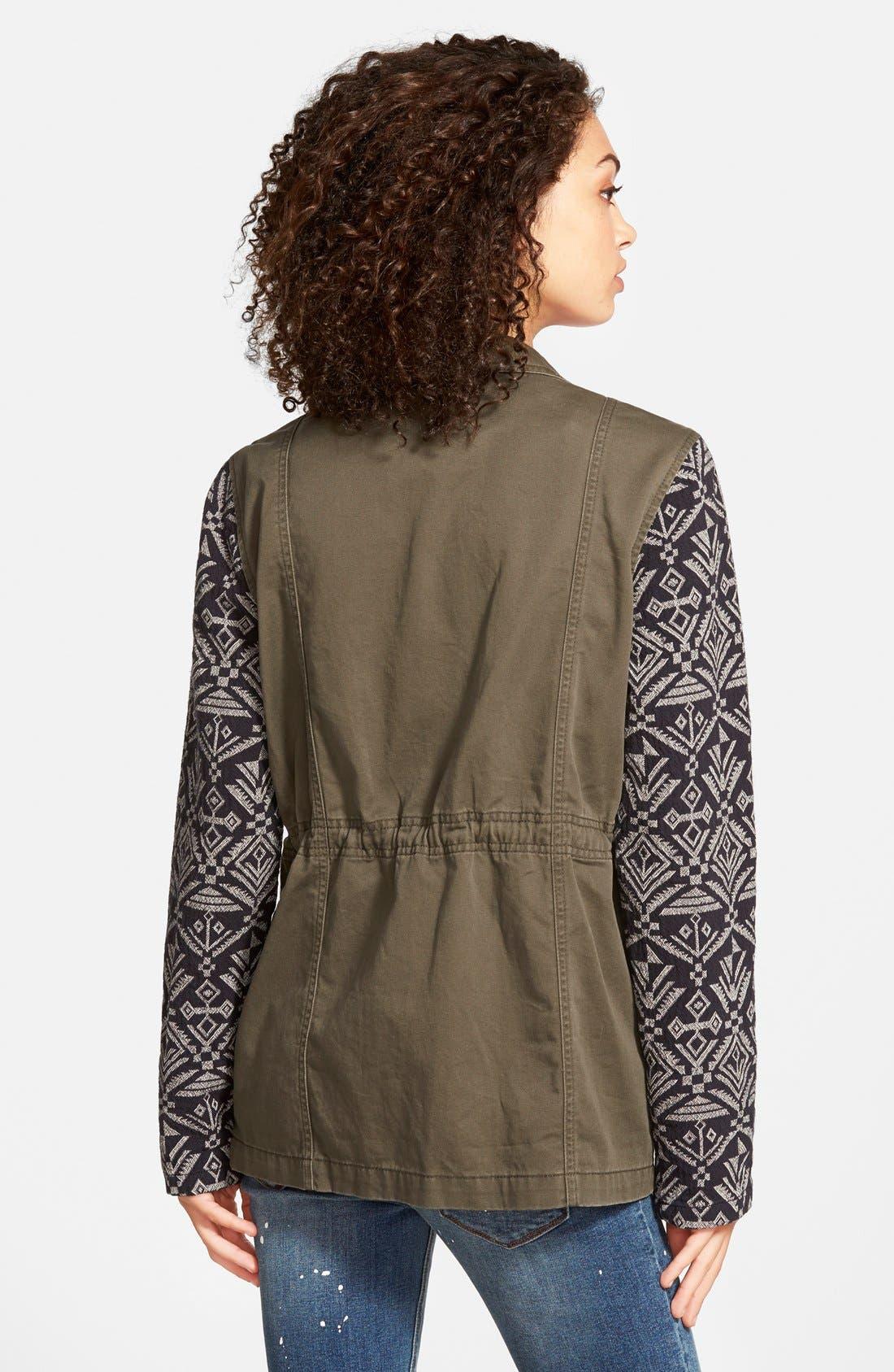 Alternate Image 3  - Sun & Shadow Contrast Sleeve Field Jacket (Juniors)