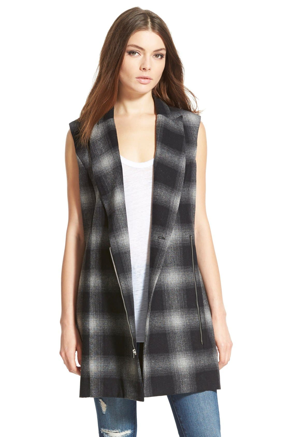 Alternate Image 1 Selected - WayfPlaidLong Vest