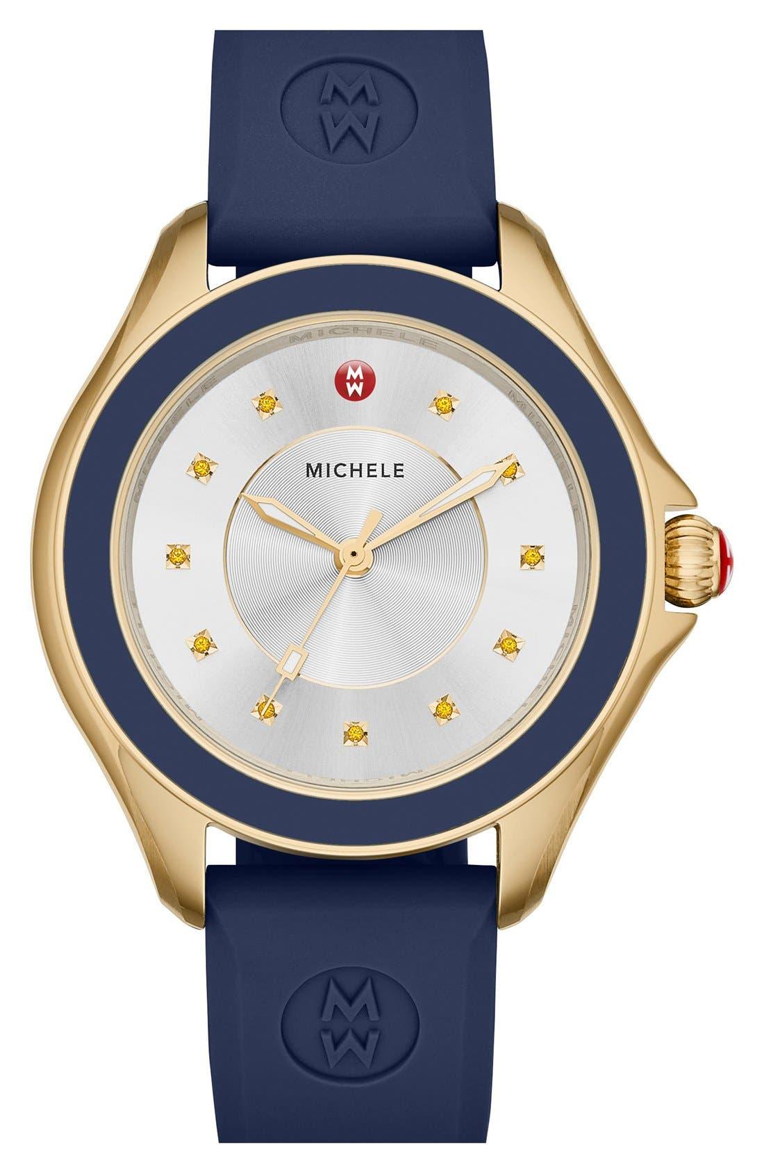 MICHELE Cape Topaz Dial Silicone Strap Watch, 40mm