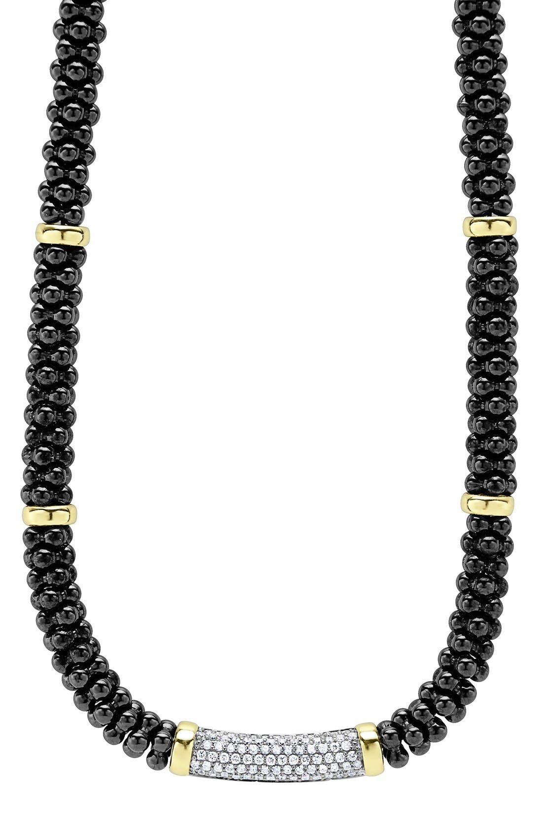 LAGOS 'Black Caviar' 7mm Beaded Diamond Bar Necklace