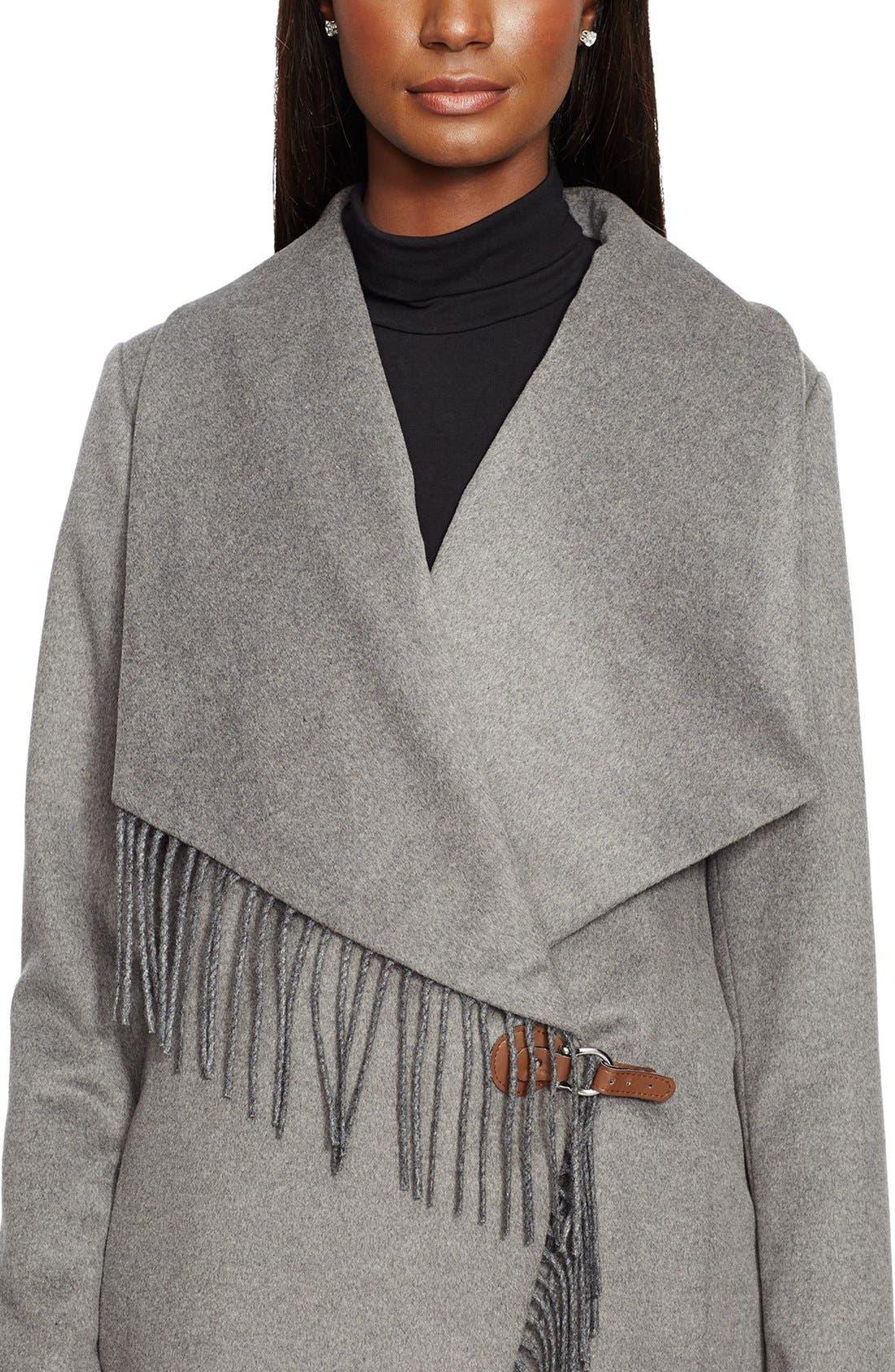 Alternate Image 3  - Lauren Ralph Lauren Fringe Trim LongDrape Front Coat