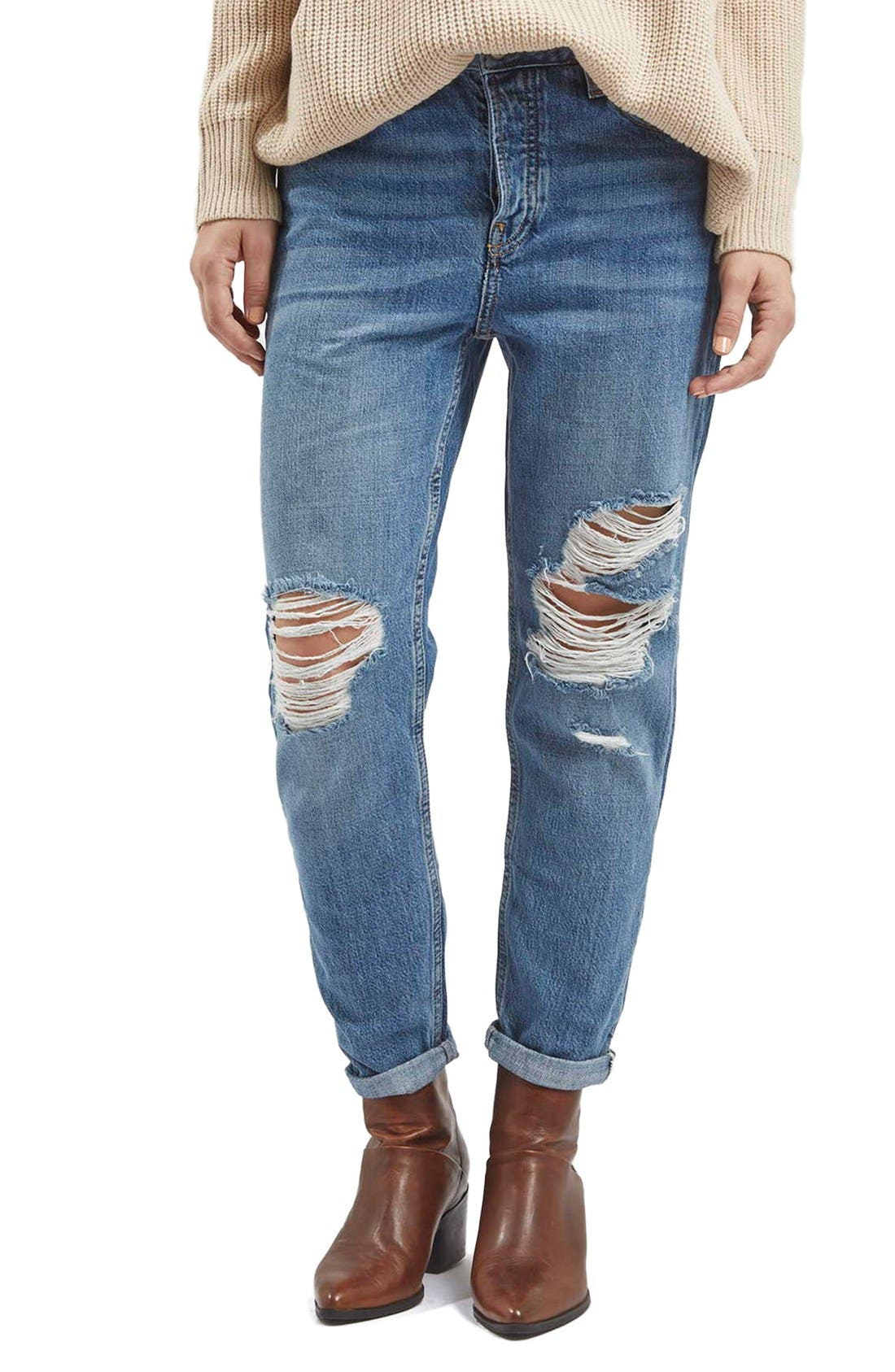 Alternate Image 1 Selected - Topshop Moto 'Hayden' Ripped Boyfriend Jeans (Blue)