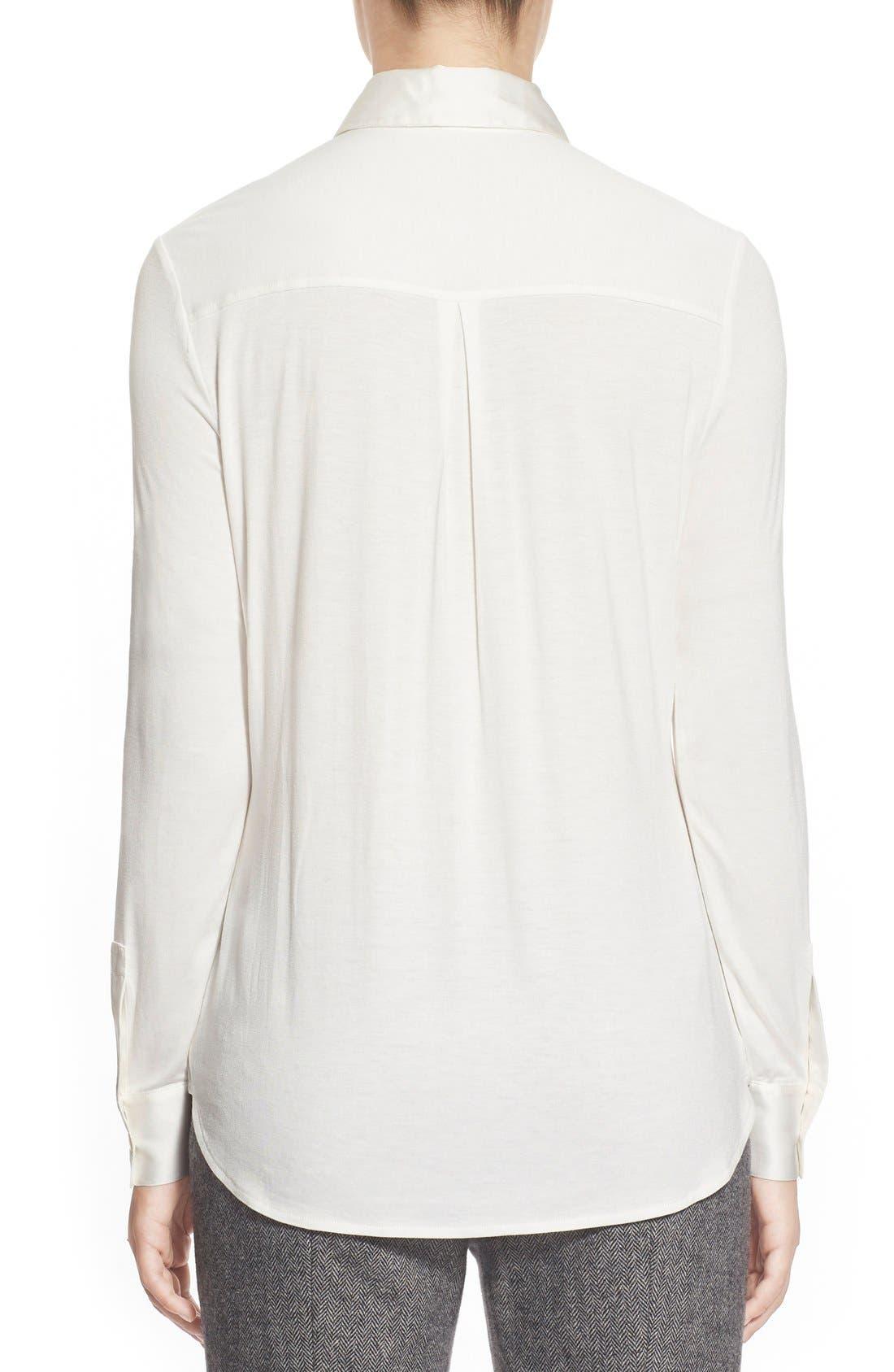 Alternate Image 2  - Pink Tartan Silk Trim Jersey Shirt