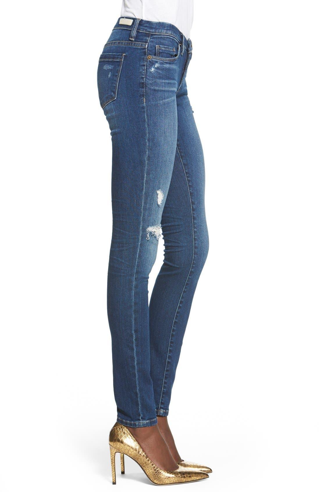Alternate Image 4  - BLANKNYC'Hotel' Distressed Skinny Jeans (Blue)
