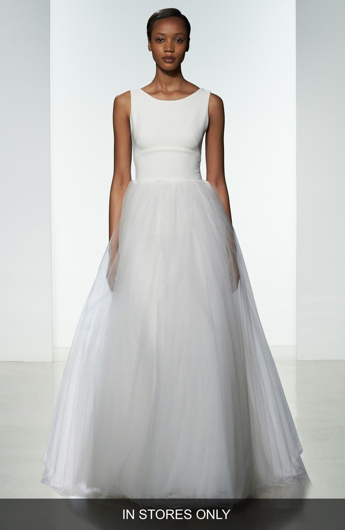 nouvelle AMSALE Libby Illusion Back Crepe & Tulle Ballgown (In Stores Only)