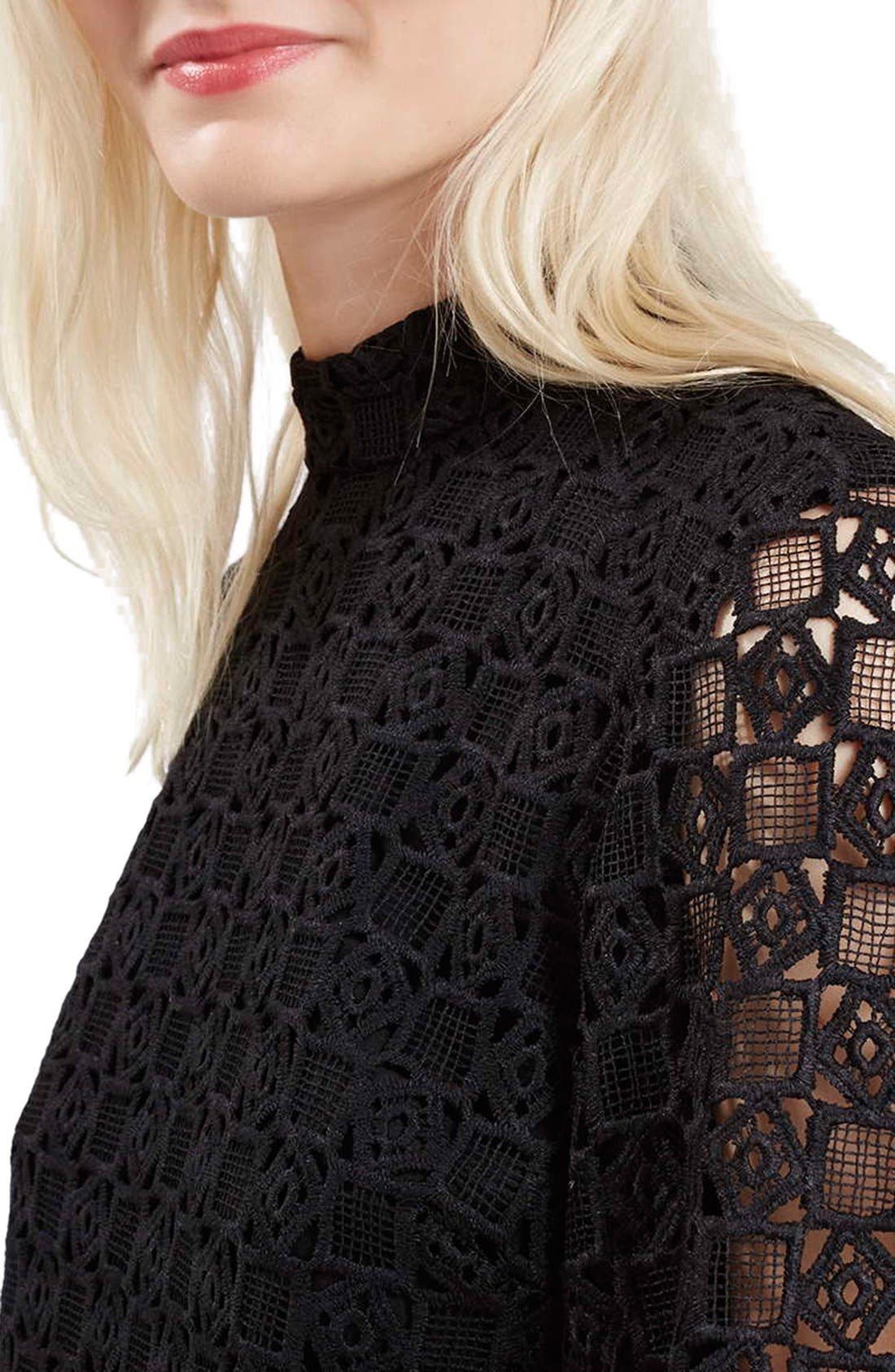 Alternate Image 5  - Topshop Bell Sleeve Lace Dress