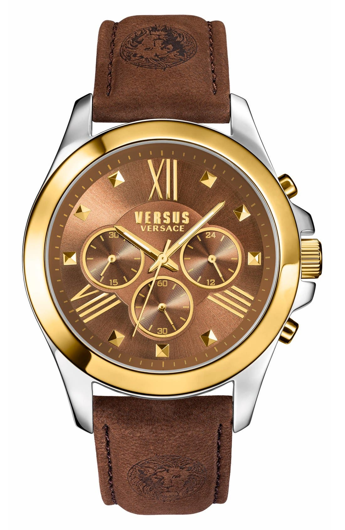 Alternate Image 1 Selected - VERSUS by VersaceChronograph Leather Strap Watch, 44mm