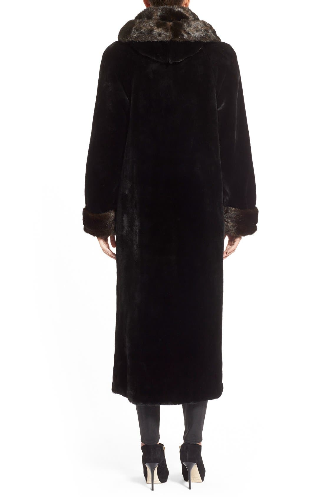 Alternate Image 2  - Gallery Hooded Full-Length Faux Fur Coat