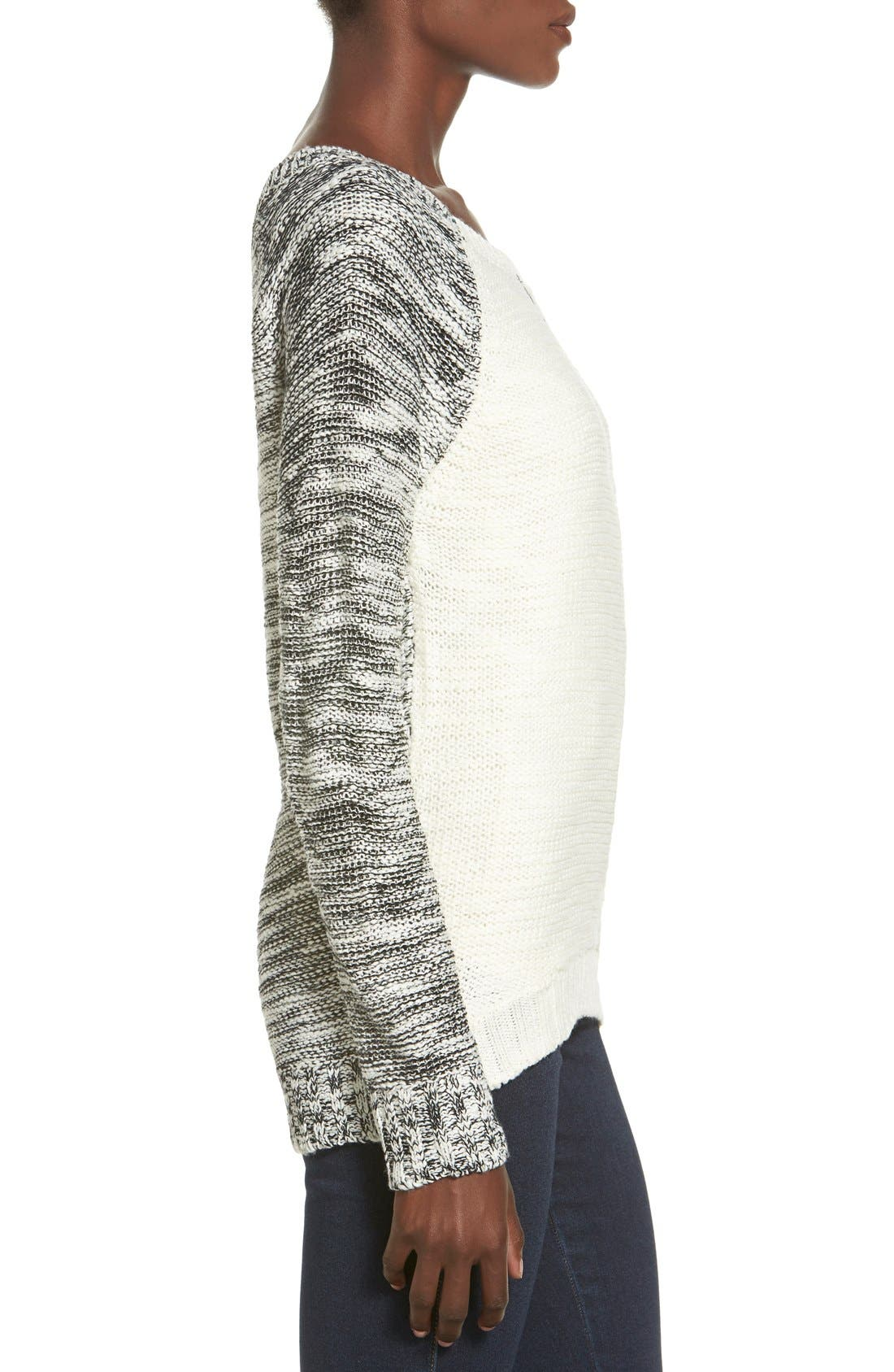 Alternate Image 3  - Derek Heart Marled Colorblock Raglan Sweater