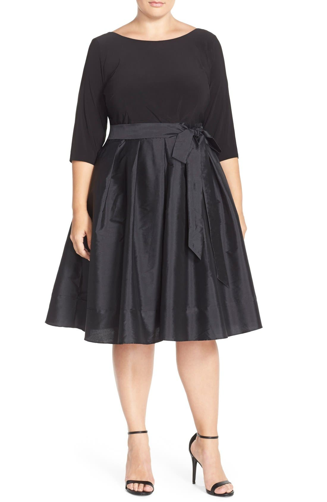 ADRIANNA PAPELL Mixed Media Fit & Flare Dress