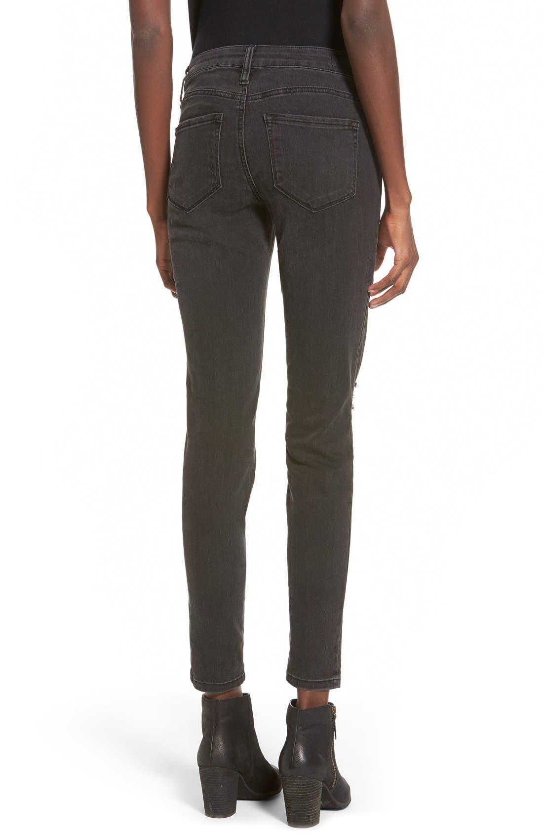 Alternate Image 2  - STSBlue 'Piper' Destroyed Skinny Jeans (Black)